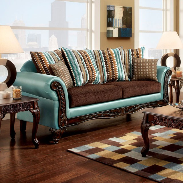 Mulligan Teal/Dark Brown Fabric Leatherette Sofa - Shop for ...