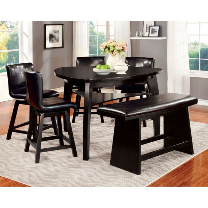 Hurley Black Triangular Counter Height Table Set