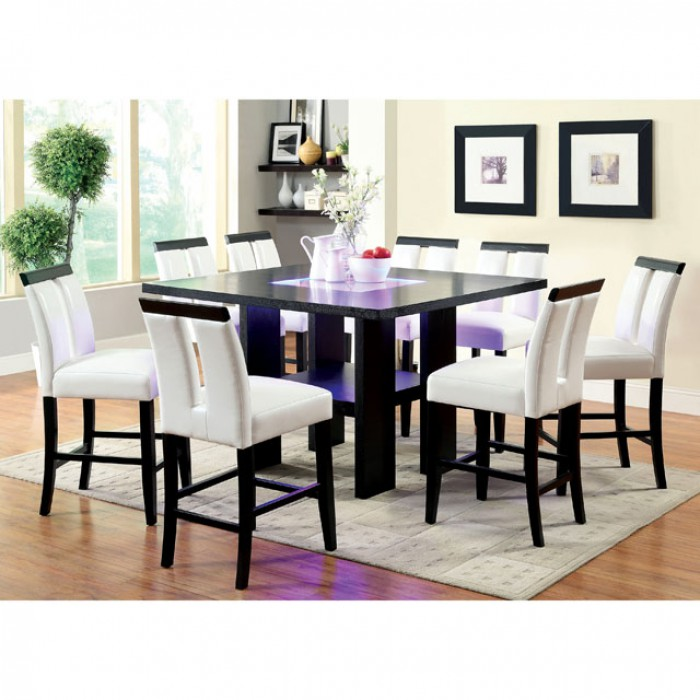 Captivating Luminar II Espresso Wood Embedded Led Lights Dining Set