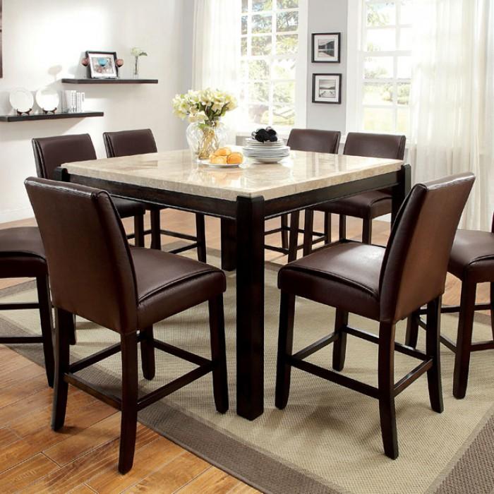 Gladstone Dark Walnut Counter Height Dining Table Set Shop For - Dark walnut dining table and chairs