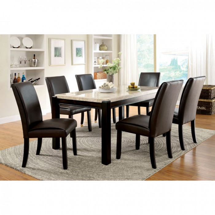 Gladstone I Dark Walnut Marble Top Dining Table Set - Shop for ...