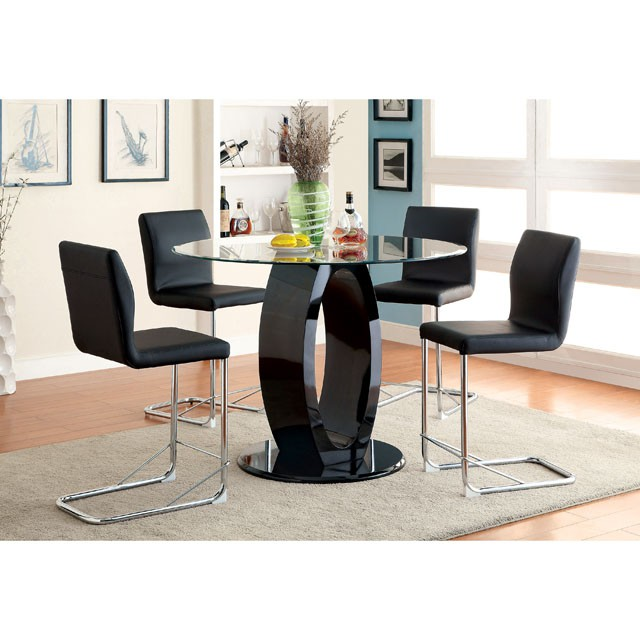 Charmant Lodia Black Round Glass Top Counter Height Table Set