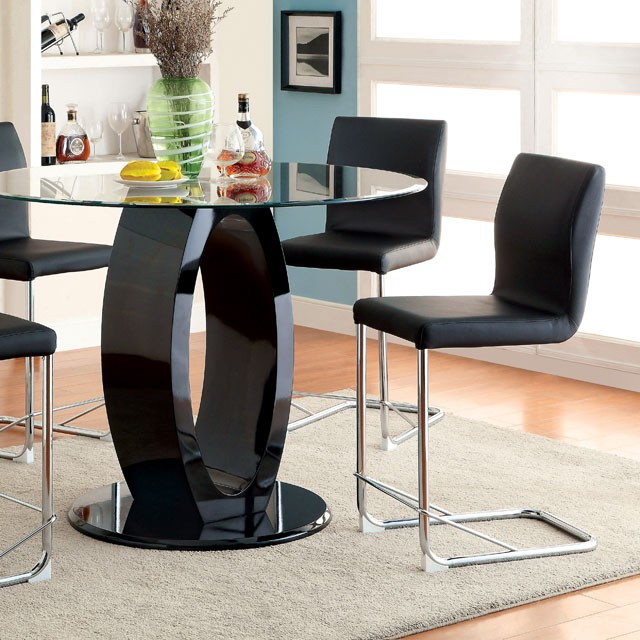 Lodia Black Round Glass Top Counter Height Table Set & Lodia Black Round Glass Top Counter Height Table Set - Shop for ...