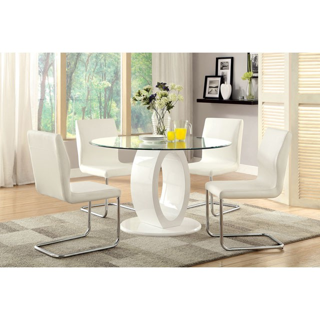 Lodia I Contemporary White Glass Top Round Dining Set