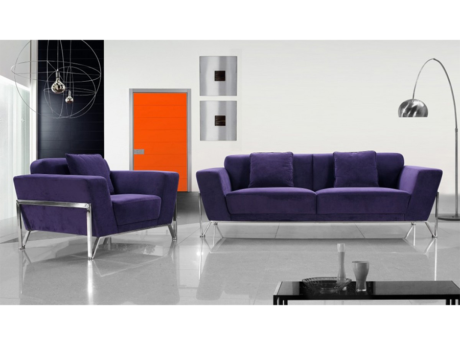 Purple Fabric Sofa Set