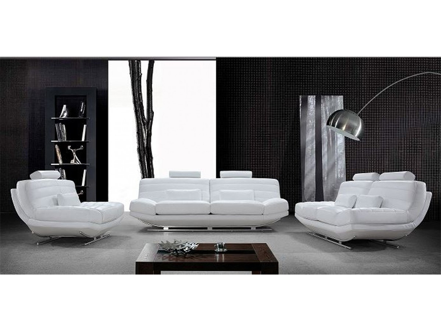 Gentil White Bonded Leather Sofa Set