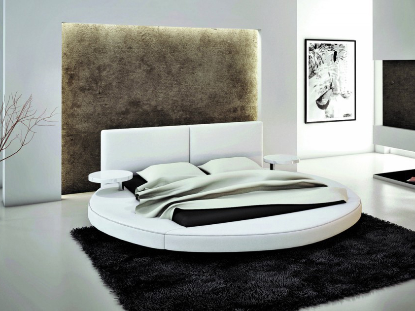 White Bonded Leather Round Queen Bed