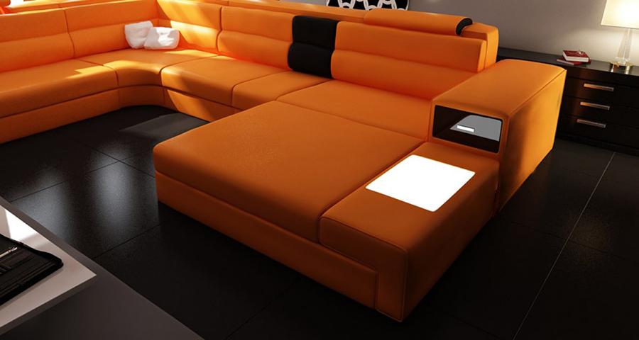 Orange Sectional Sofa With Lights