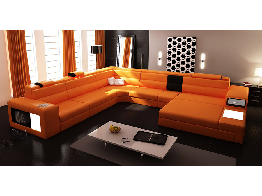 Orange Sectional Sofa With Lights