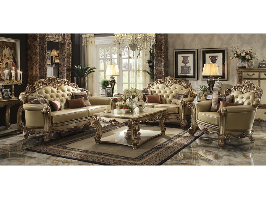 Vendome Gold Sofa with Pillows