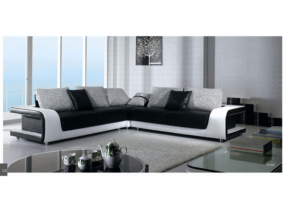 Black Leather & Fabric Sectional Sofa