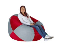 Bean Bag Grey and Scarlet Red