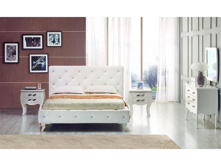 White Leatherette Twin Bed w/Crystal
