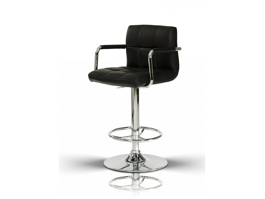 Black Eco Leather Contemporary Barstool Shop For