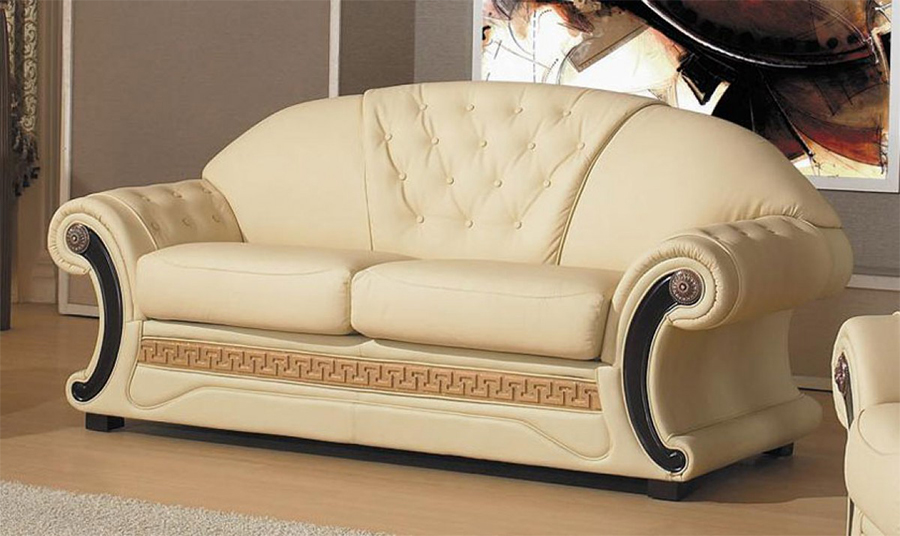 Charmant Cream Leather Sofa Set