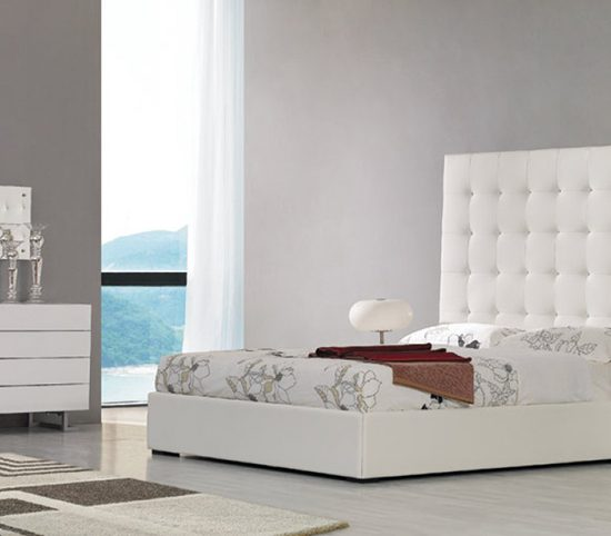 White Leatherette Tall Headboard Queen Bed