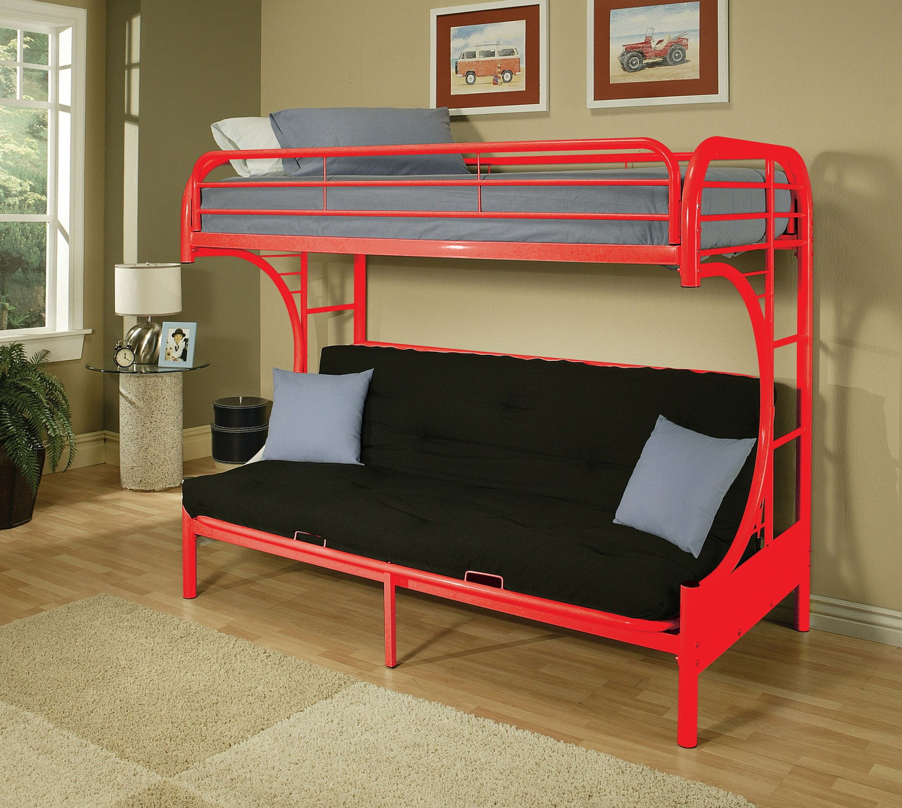 Eclipse Red Metal Twin Full Futon Bunk Bed For Affordable