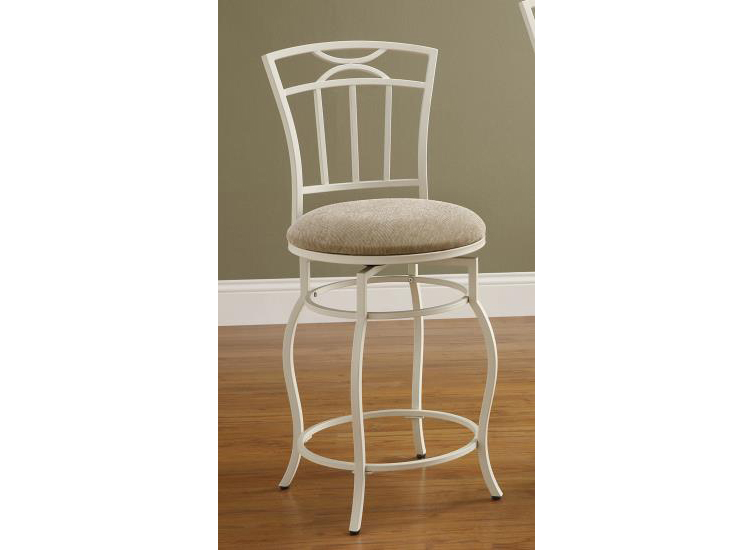 24 Inch Upholstered White Metal Counter Height Stool