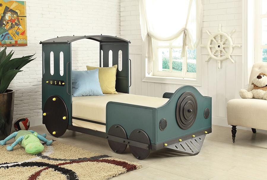 Tobi Green And Black Twin Train Bed