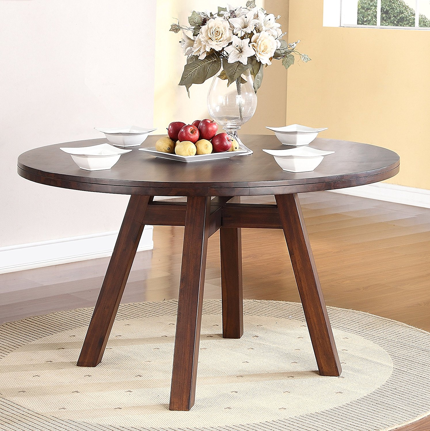 Portland Solid Wood Round Dining Table In Walnut For