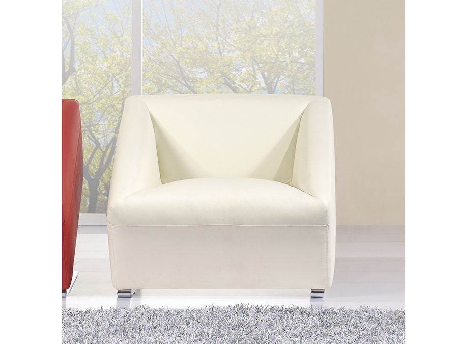 Tremendous Modern Ivory Faux Leather Accent Chair Creativecarmelina Interior Chair Design Creativecarmelinacom