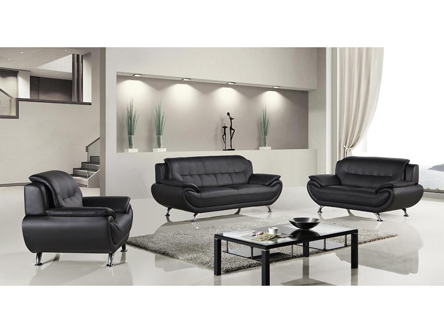 Modern 3Pcs Black Faux Leather Sofa+Loveseat+Chair - Shop for ...