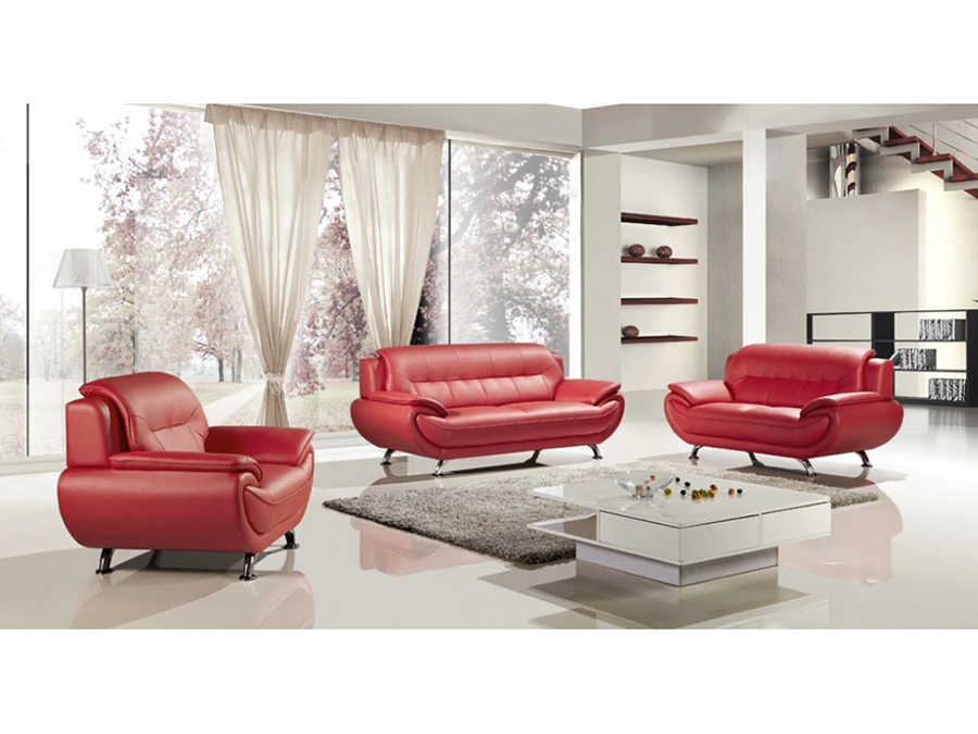 Phenomenal Modern 3Pcs Red Faux Leather Sofa Loveseat Chair Evergreenethics Interior Chair Design Evergreenethicsorg