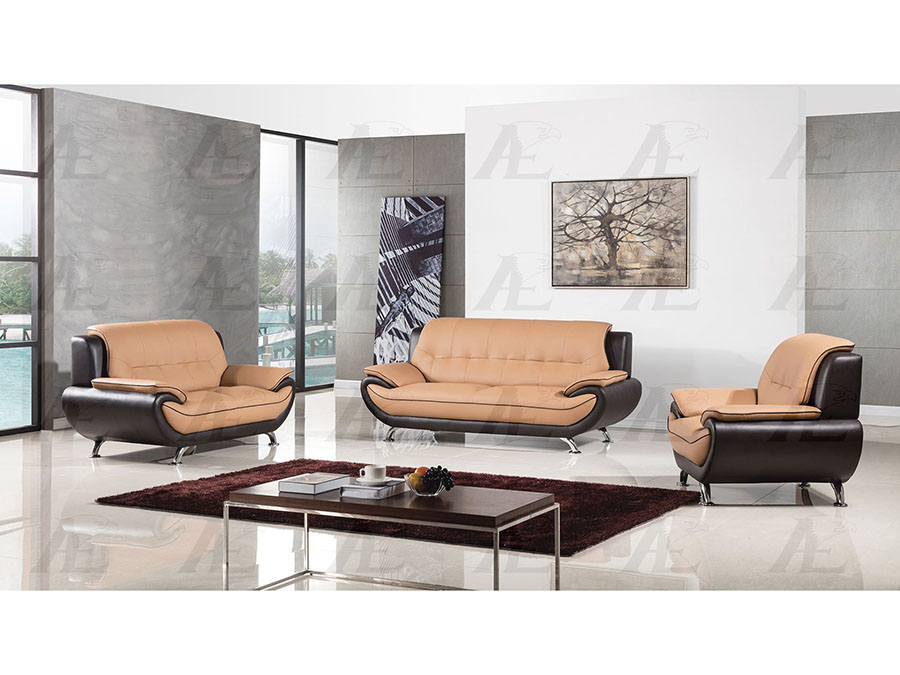 Modern 3pcs Yellow Brown Faux Leather Sofa Loveseat Chair Shop