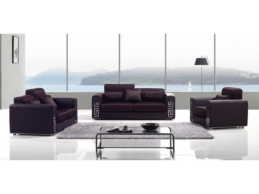 Mahogany Faux Leather Sofa Set