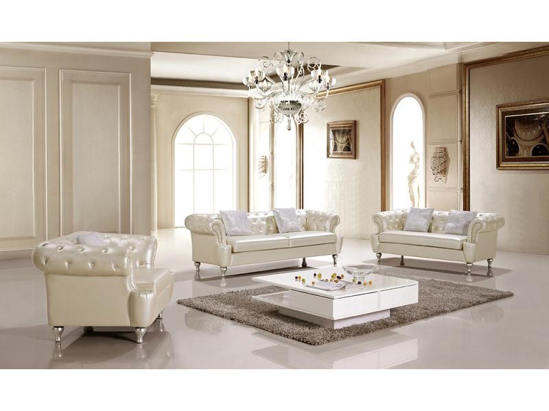 Cream 3 Pieces Living Room Sofa Set