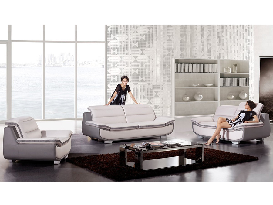 Modern 3pcs Light Gray Dark Leather Sofa Set