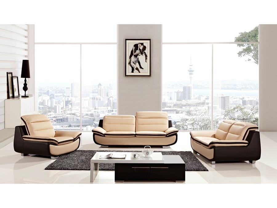 Modern 3pcs Peach Dark Chocolate Leather Sofa Set