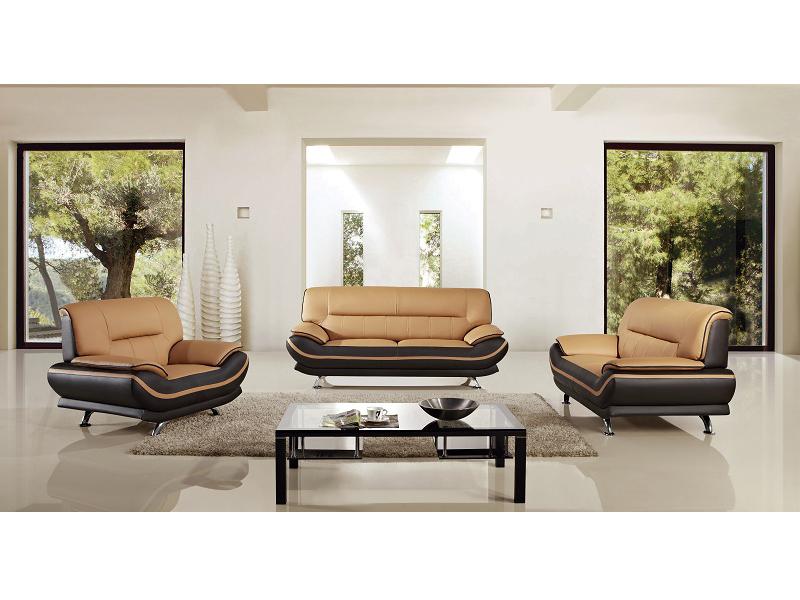 3pcs Modern Yellow Brown Leather Sofa Set