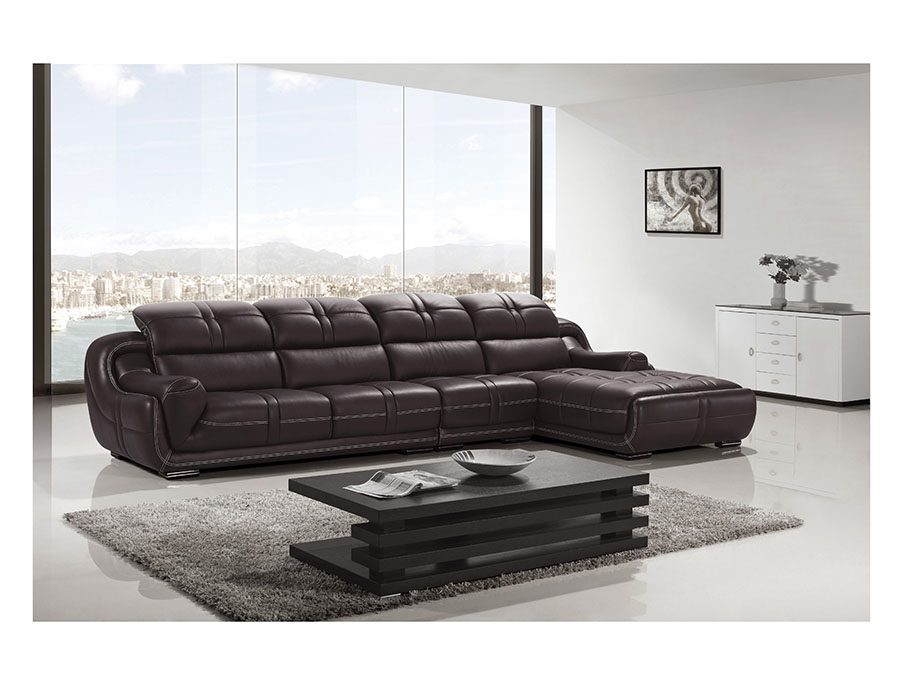 Modern Dark Brown Genuine Leather Sectional Sofa Shop For