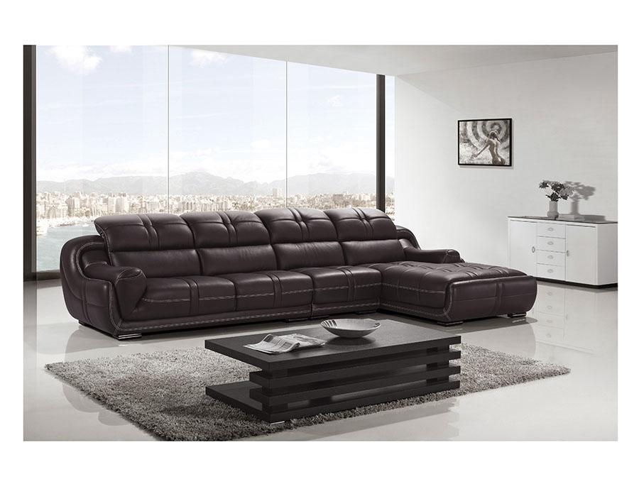 Modern Dark Brown Genuine Leather Sectional Sofa