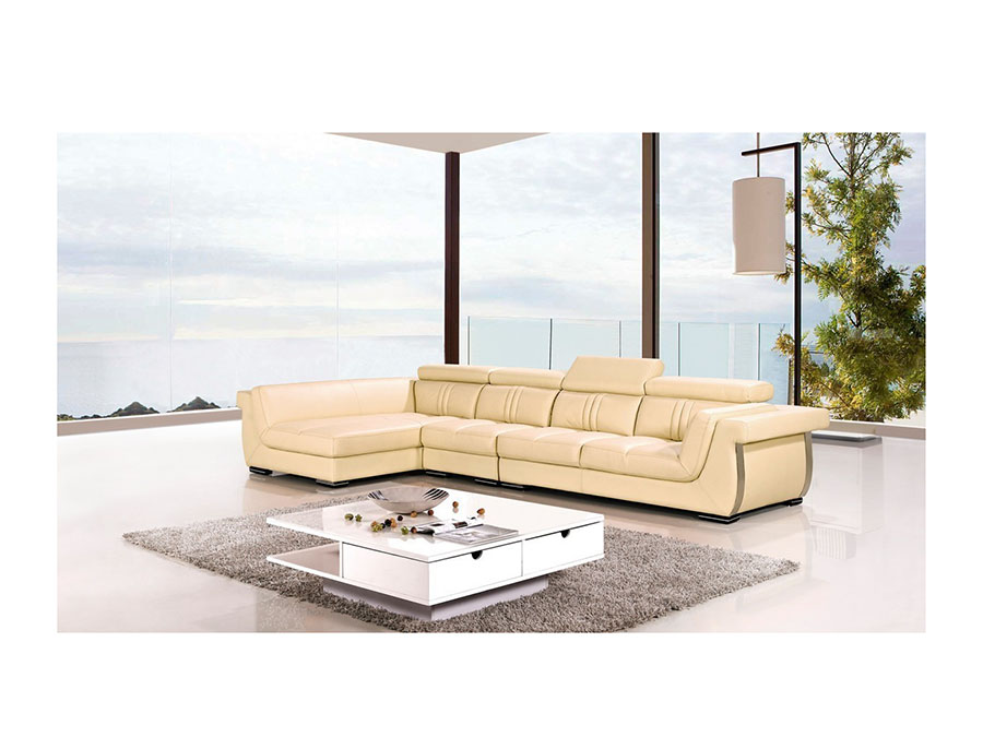 Modern Cream Genuine Leather Sectional Sofa Shop For Affordable