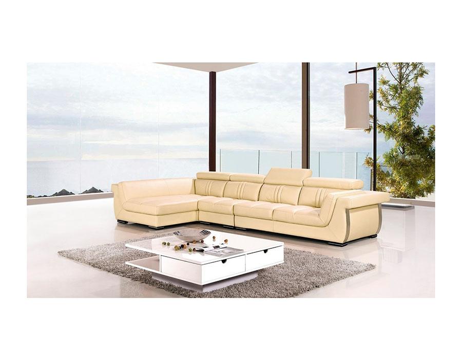 Modern Cream Genuine Leather Sectional Sofa