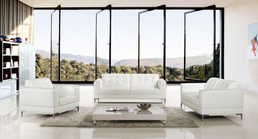 Modern 3Pcs White Italian Leather Sofa Set