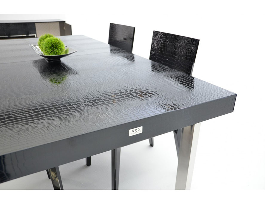 Black Crocodile Lacquer Dining Table Set