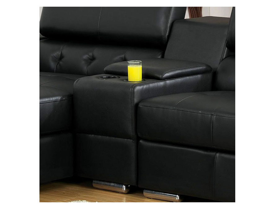 Floria Sectional Sofa In Black