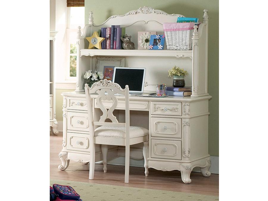 Cinderella White Writing Desk With Hutch