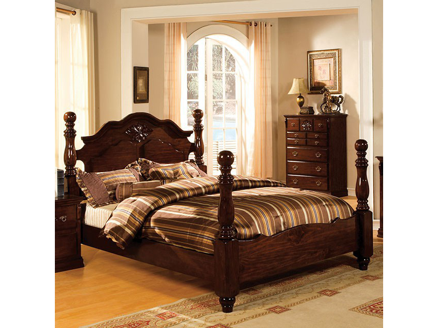 Tuscan II Glossy Dark Pine Cal.King Bed   Shop for Affordable Home