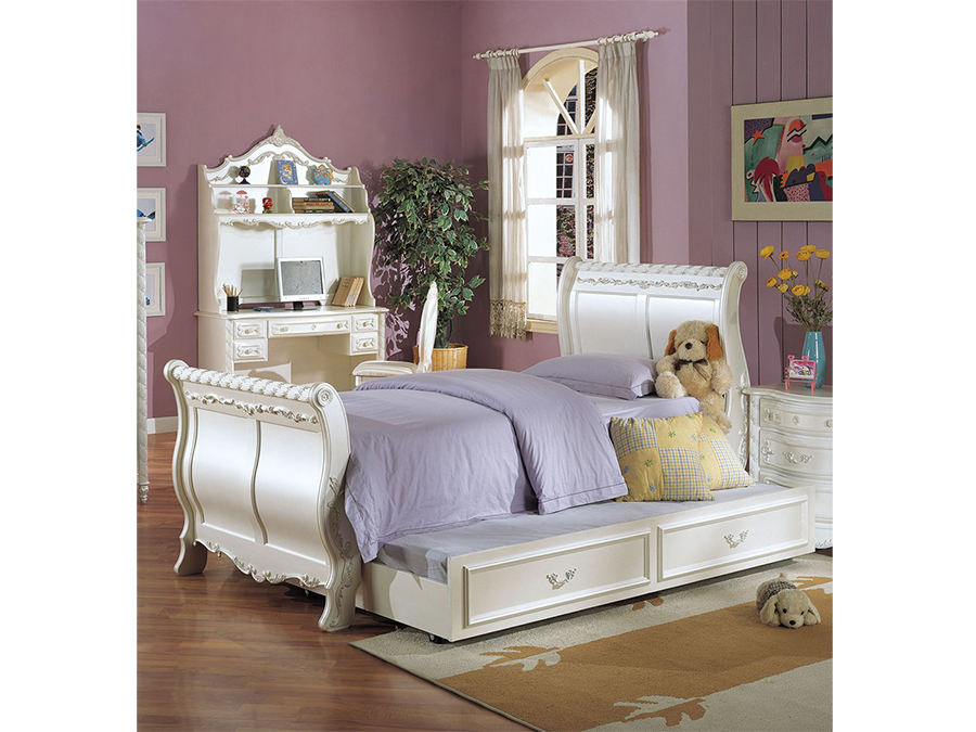 Pearl White Twin Sleigh Bed With Trundle Shop For Affordable Home