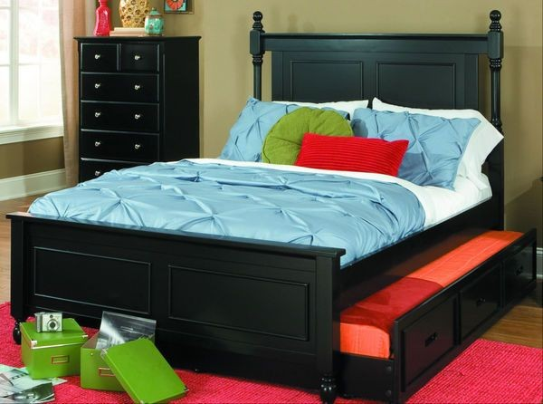Morelle Black Twin Captain Bed Trundle Shop For Affordable Home