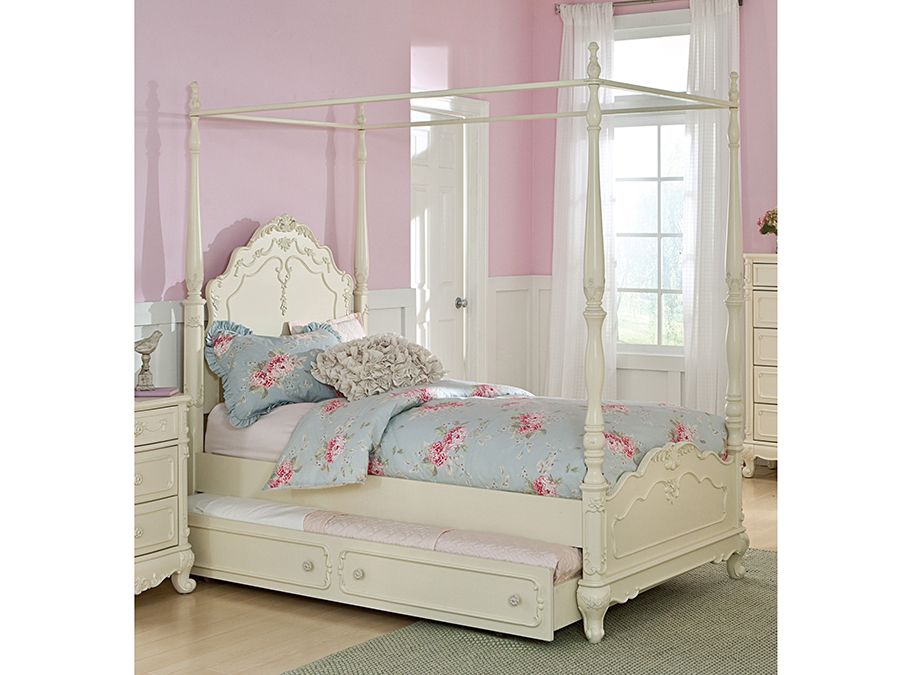 Cinderella White Twin Canopy Bed