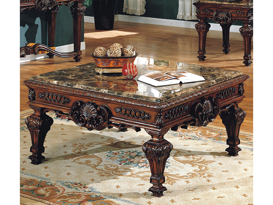 Imperial Brown Marble Top Coffee Table