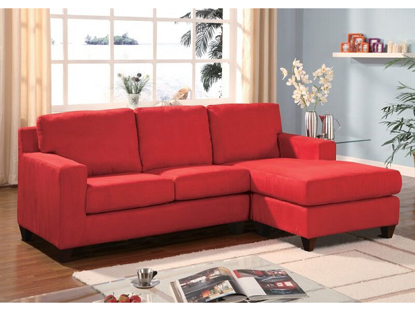 Vogue Red Microfiber Reversible Chaise Sectional Sofa Shop For