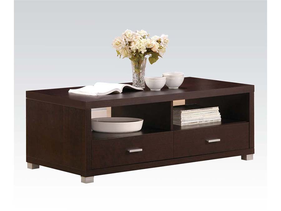 Tustin Espresso Coffee Table With Drawers