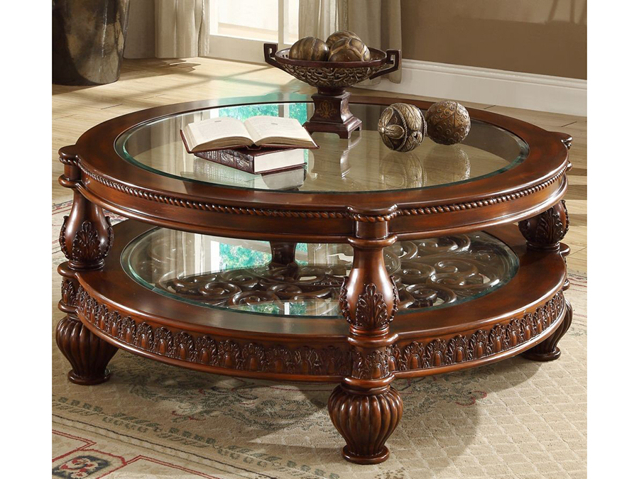 Classic Cherry Wood Round Coffee Cocktail Table