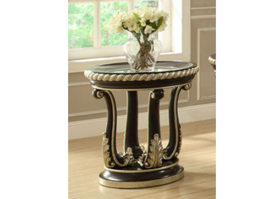 Classic Round Wood Formal End Table Glass Top Shop For Affordable